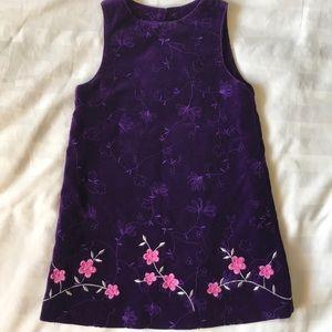 Polly Flinders purple embroidered velvet jumper